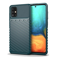 Shockproof case for Samsung Galaxy A71 with texture pattern, dark green color, Onyx series from caseport