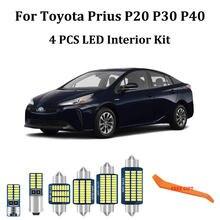 4 pçs branco canbus led interior do carro luzes kit para toyota prius 20 30 40 nhw20 zvw30 zvw40 luzes de leitura interior do carro