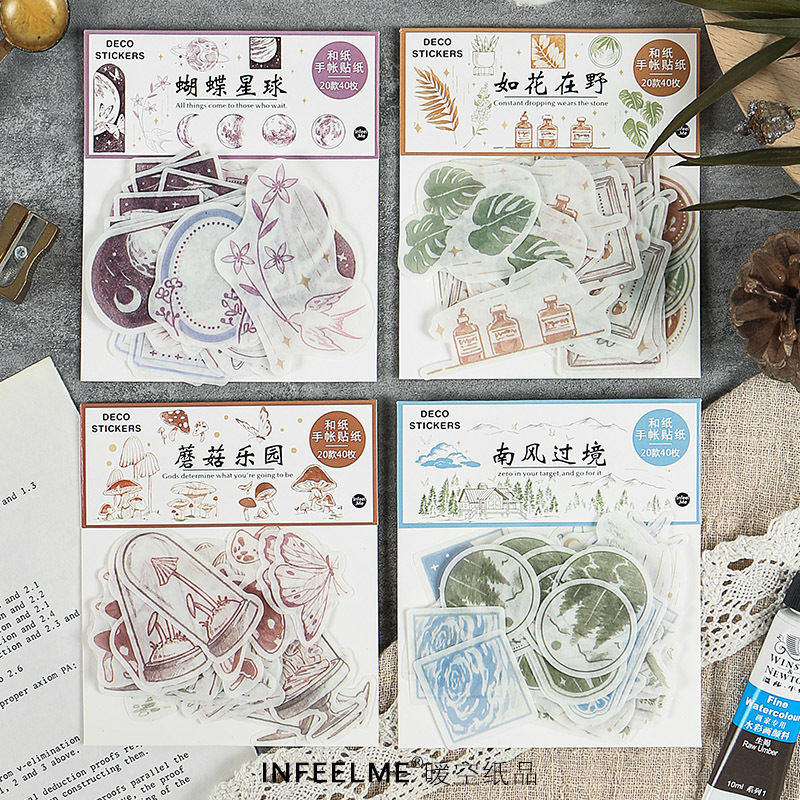 40pcs/pack Mushroom Wonderland Paper Sticker Diy Diary Planner Decoration Sticker Album Scrapbooking Kawaii Stationery Stickers