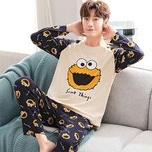 Yidanna Men Pajamas Set Cotton Sleepwear Cartoon Print Nightwear Long Sleeved