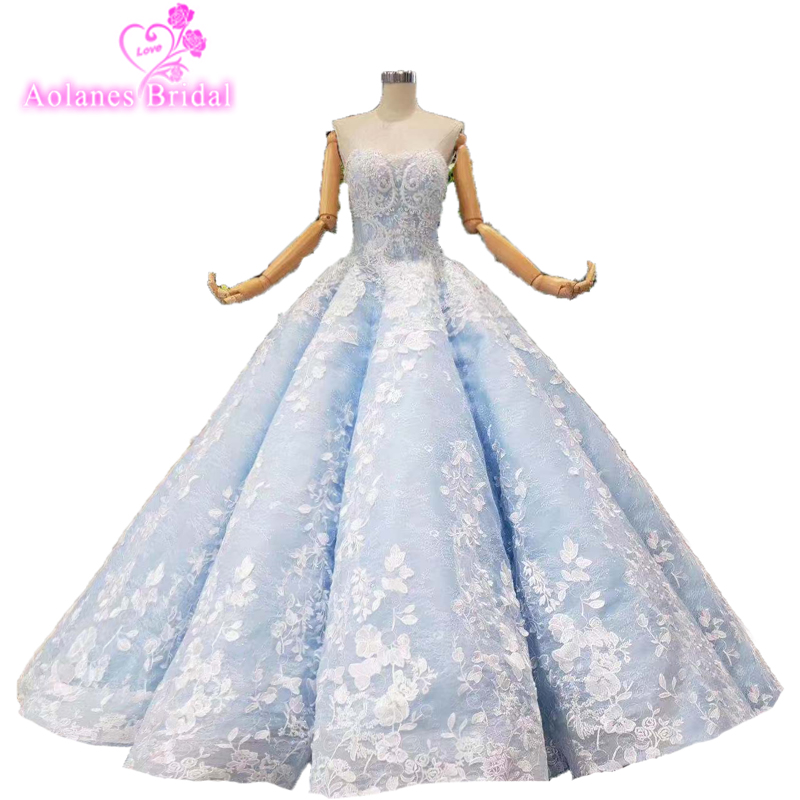 2019 Ball Gown Prom Dresses O Neck Lace Sleeveless Appliques Tulle Backless Light Blue Evening Dresses Vestido De Festa Longo