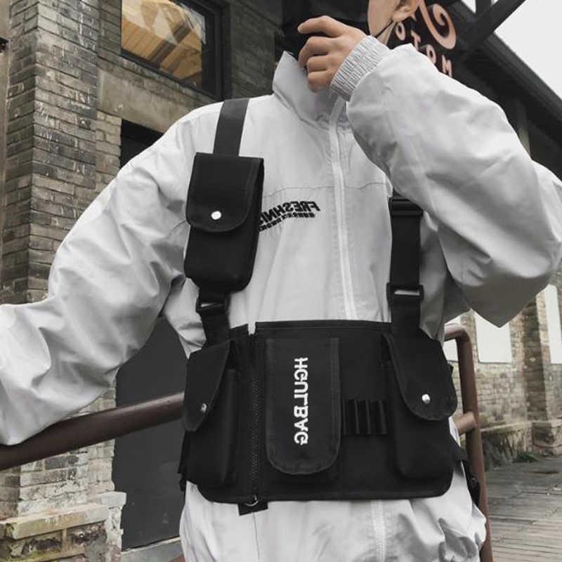 Taktis Mendaki Dada Rig untuk Pria Tas Pinggang In Streetwear Fungsional Taktis Hip Hopshoulder Tas Selempang Pria Kanvas Tas