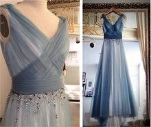 элегантный одеяние де вечер пром платье Снегурочки 2018 тюль платье бисером феста Лонго линии партии V-образным вырезом длинные платья невесты