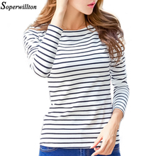 Soperwillton Cotton T-shirt Women 2019 New Autumn Long Sleeve O-Neck S