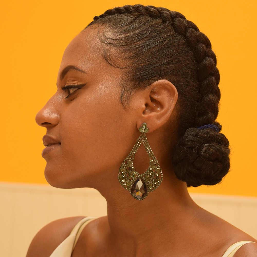 גדול גודל ספיר זכוכית ריינסטון בנות ארוך זרוק עגילי נשים הכלה זהב עגיל תכשיטי אביזרי decoations עבור כלה