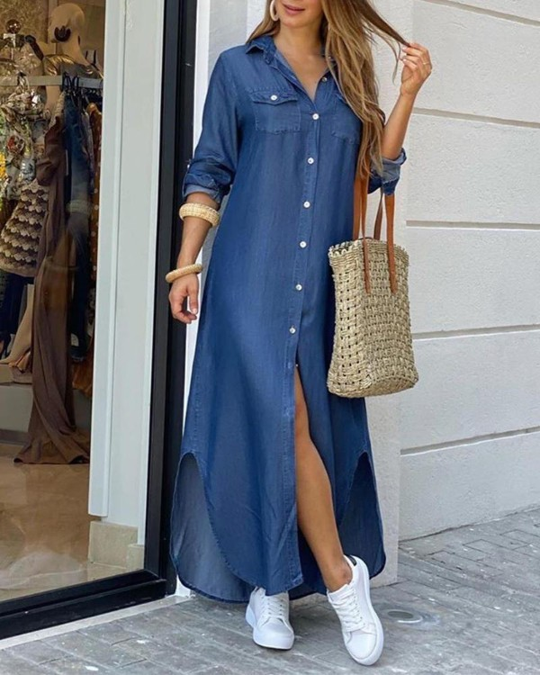 CN975 Fashionable Shirt-style Button Dress Ladies Casual Long Street Dress Large Size Loose Home Commuter Print Dress Women 9