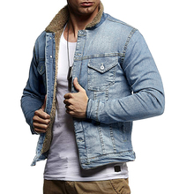 Denim Jacket For Men Plus Velvet Winter Thermal Denim Coat Male Fashion Jean Jacket Casual Turn Down Collar Thick Warm Coat D40 initialdream new thick velvet denim jacket outerwear 2019 winter warm women zipper jean jacket coat casual clothing