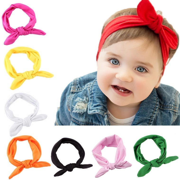 New Kids Baby Kids Girls Rabbit Bow Ear Hairband Headband Knot Head Wraps Hair Band Accessories Head Wrap Soild Big Bowknot