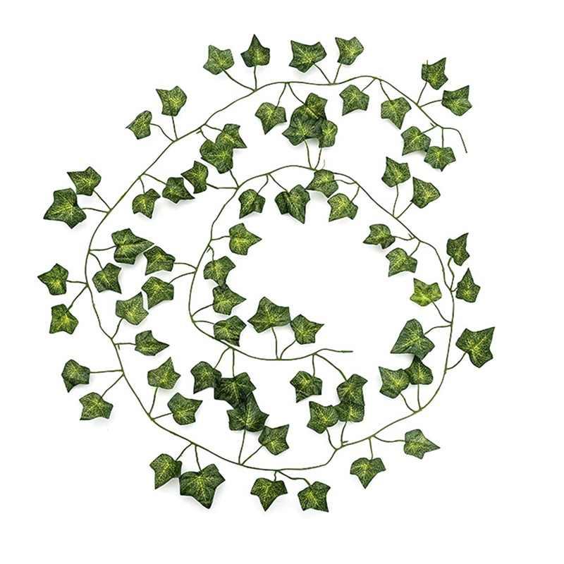 12 шт./партия 2 м Искусственный цветок розы листья Зеленая редька криперы Штампованные Железные виноградные листья лоза наружные стены висячие украшения сада