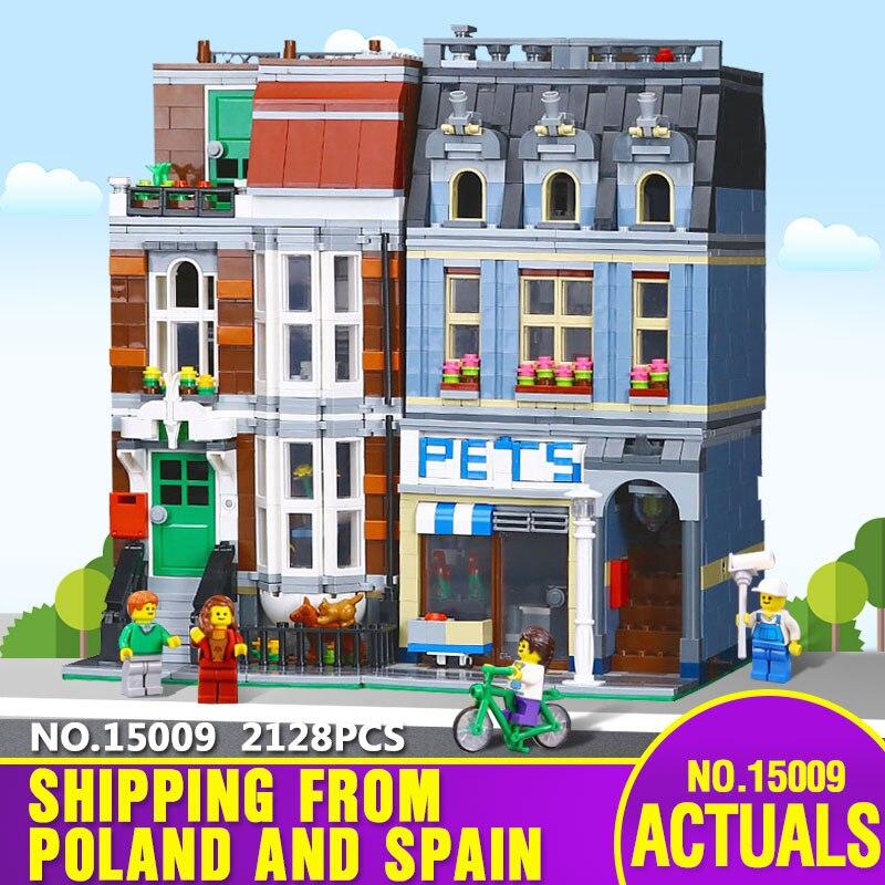 스페인에서 dhl 선박 15009 도시 건물 시리즈 10218 애완 동물 가게 슈퍼마켓 모델 도시 거리 빌딩 블록 크리스마스 장난감-에서블록부터 완구 & 취미 의  그룹 1