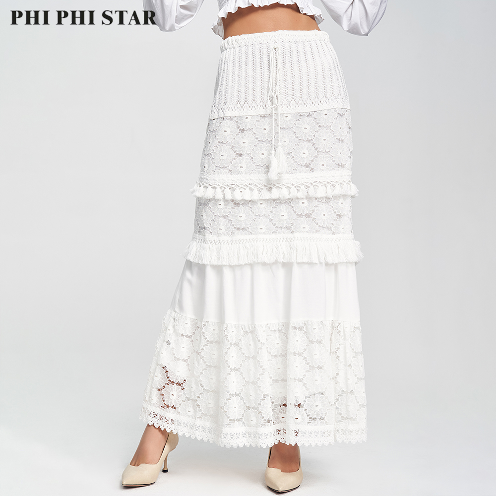 Phi Phi Star Brand Latest Design Fashion Women High-waisted White Lace Cotton Midi Skirt