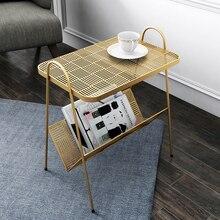 Скандинавский современный минималистичный прикроватный столик для спальни, балкон, маленький чайный столик, железный прикроватный столик, боковой Диванный столик для гостиной, несколько углов