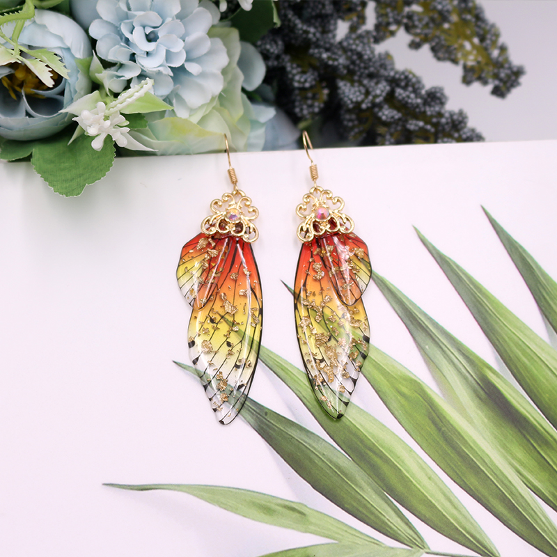 Handmade Fairy Simulation Wing Earrings Insect Butterfly Wing Drop Earrings Foil Rhinestone Earrings Romantic Bridal Jewelry 3