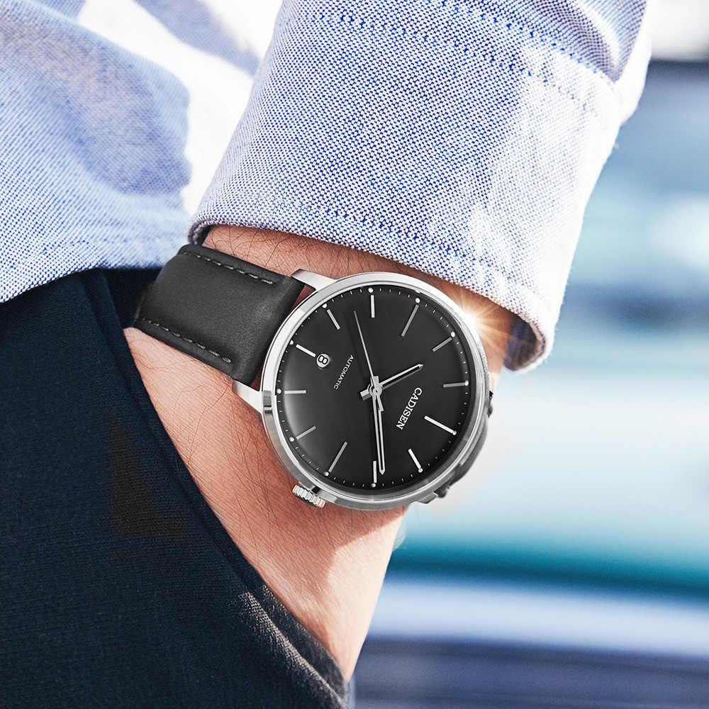 CADISEN العلامة التجارية الرجال الساعات التلقائي ساعة ميكانيكية ميوتا 8215 ساعة جلدية عادية الأعمال ريترو ساعة اليد Relojes Hombre