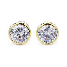 Wholesale Jewelry -- (3 pairs/lot) 14 k Light Gold Color Bezel Setting CZ Stud Earrings 8 mm for Women AAA+ Cubic Zircon(China)