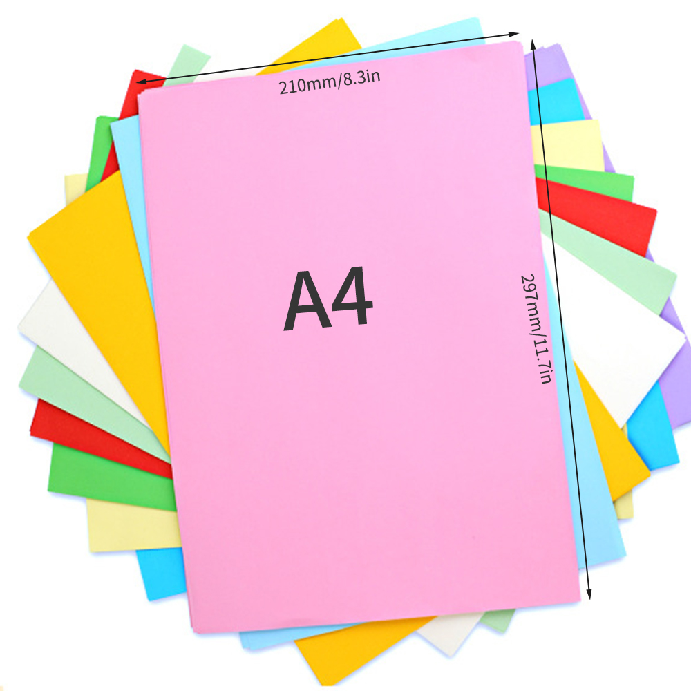 100 Sheets A4 Color Copy Paper 210x297mm/8.3x11.7in Printer Paper 70GSM for Copy Printing Writing Crafts & Art