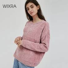 Wixra Women Sweater 2019 Solid Female O Neck Chenille Warm Thick Ladies Knitted Basic For Daily Pull Jumpers Autumn Winter(China)