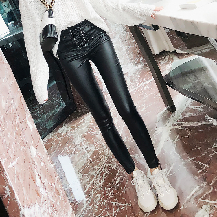 0521 Spring Autumn Bandage High Waist Black PU Leather Trousers Women Lace up Skinny Pencil Faux Lether Pants Women Zipper in Pants amp Capris from Women 39 s Clothing