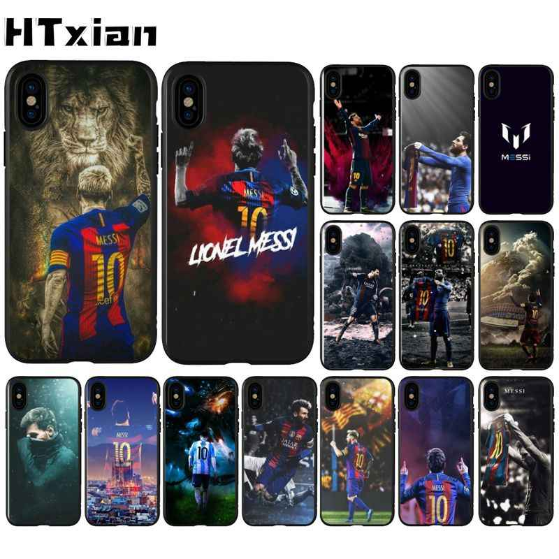 Htxian Messi Sepak Bola Photo Lembut Fundas Phone Case untuk iPhone 11 Pro XS MAX 8 7 6 6S plus X 5 5S SE XR Case