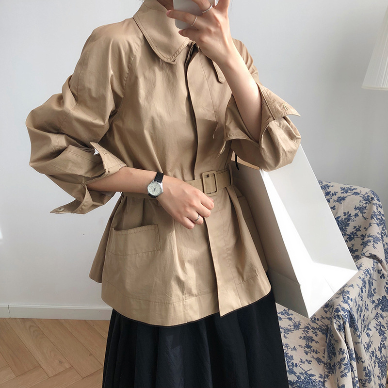 Mooirue fall female   trench   Cotton Single Breasted padded Short Loose Bf Loose casual cardigan female coat
