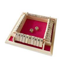 Juego de mesa de lujo de cuatro lados con 10 números, juego de mesa con solapas de madera, dados, fiesta, Club, juegos de beber para adultos y familias