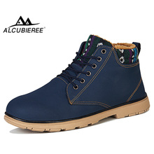 ALCUBIEREE Winter Snow Boots for Man Outdoor Short Plush Ankle Boots With Fur Me