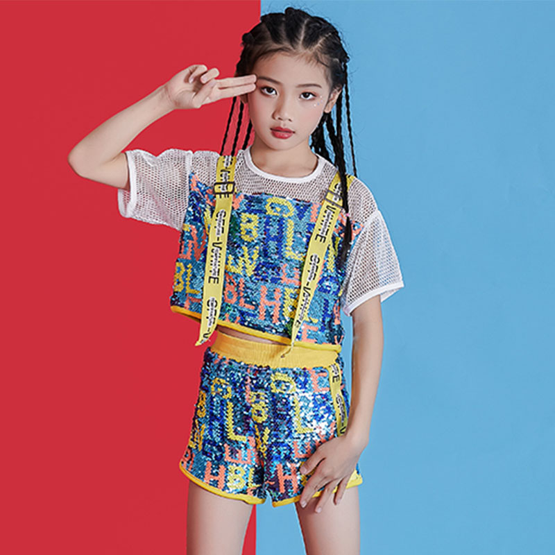Hip Hop Costumes Fashion Sequin Top Shorts Girls Jazz Stage Outfit Kids Street Dance Performance Wear Modern Clothes DNV13149