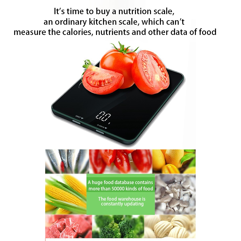 Smart Bluetooth Digital Kitchen Food Scale LCD Screen Display Capacity Range From 0.1Oz (2G) To 11Lbs (5Kg) Including 3 Batterie