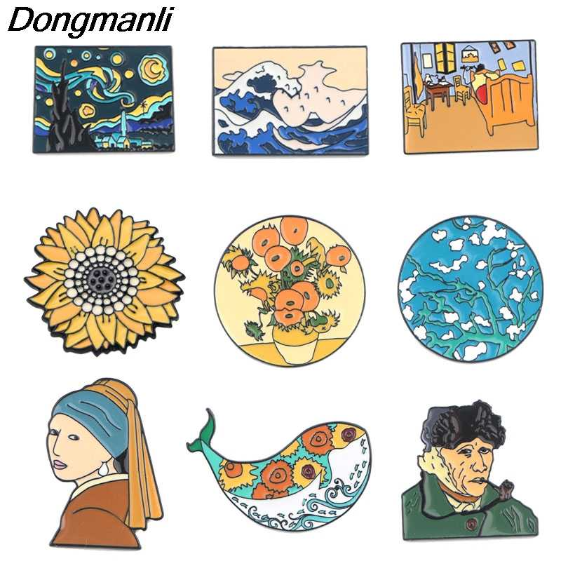 P3797 Dongmanli אופנה ואן גוך אמנות אמייל פין אוסף שמן ציור סיכות לנשים דש סיכות תג צווארון תכשיטי מתכת
