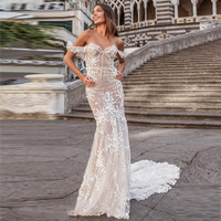 Verngo Mermaid Wedding Dresses Lace Boho Wedding Dress Backless Elegant Bride Dress Off The Shoulder Wedding Gowns Sukienki