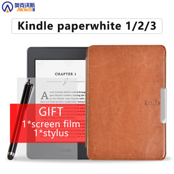 Smart PU leather cover case for Amazon kindle paperwhite 1/2/3 solid folio protective shell for kindle paperwhite case gift цена 2017