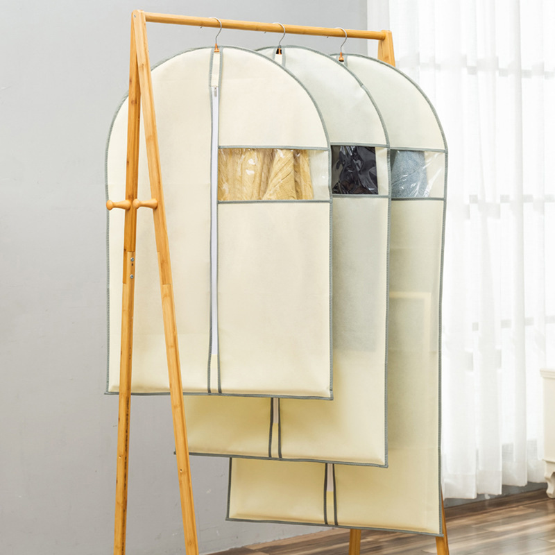 Clothes Dust Cover Non-woven Fabric Case For Household Hanging-type Coat Suit Protect Storage Bag Wardrobe Organizer