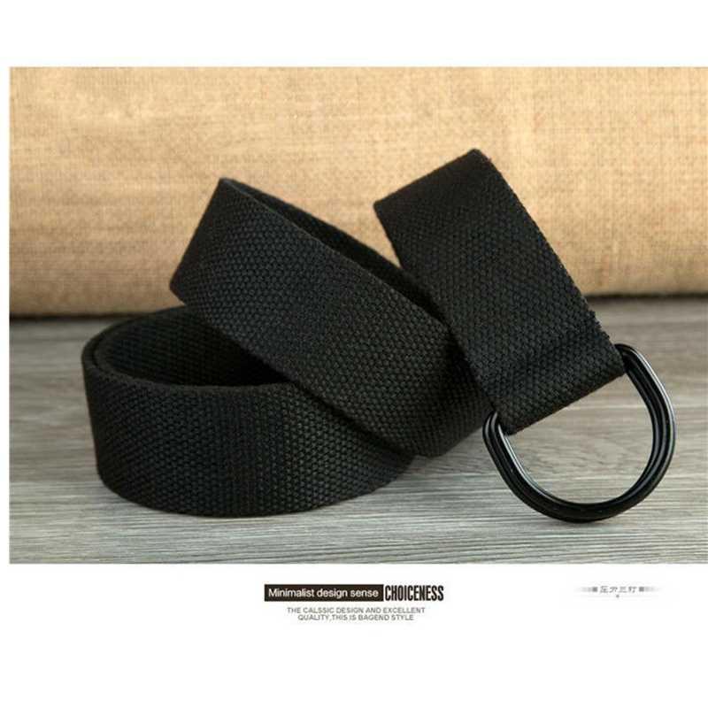 Tela di canapa Nero Semplice Casual Cintura Anello di Metallo D Fibbia In Tessuto Esercito Militare Tattico di Combattimento Cintura Unisex Delle Donne Degli Uomini