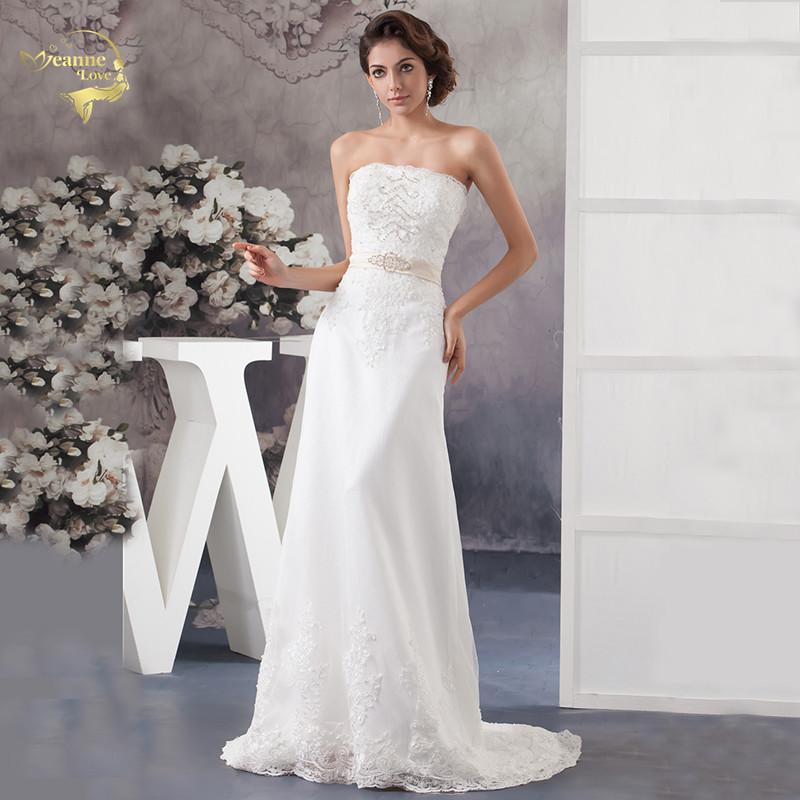 Jeanne Love Applique Beading Sequins Wedding Dresses 2020 Gorgeous Strapless Sashes Bride Robe De Mariage Lace Vestido De Noiva