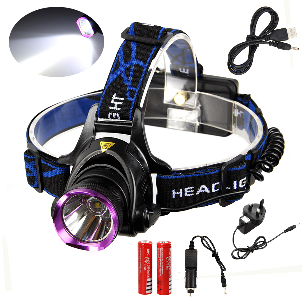LED Headlamp 10000Lm XM-L T6 Head Flashlight Torch Rechargeable Forehead Fishing Headlight Torch+Car/AC/Charger+USB Cable