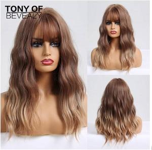 Image 1 - Long Wavy Synthetic WigsกับBangs Ombre Wigsสีน้ำตาลสำหรับธรรมชาติทุกวันปาร์ตี้Wigsทนความร้อน