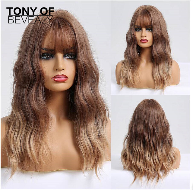 ארוך גלי סינטטי פאות עם פוני Ombre חום פאות עבור נשים טבעי יומי מסיבת שיער פאות חום סיבים עמידים פאות