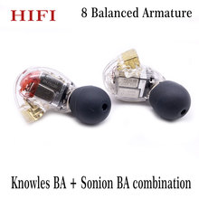 DIY HIFI Custom Made MMCX 8BA Balanced Armature Drivers in Ear Earphone For Shure SE846 Ear