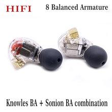 Diy hi fi personalizado mmcx 8ba, balanceado, drivers armadura, fone de ouvido para shure se846, cabo de fones de ouvido para botões ba + sonion ba