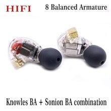 لتقوم بها بنفسك HIFI مخصص MMCX 8BA السائقين المحرك المتوازن في الأذن سماعة ل Shure SE846 كابل ياربود ل Knowles BA + Sonion BA