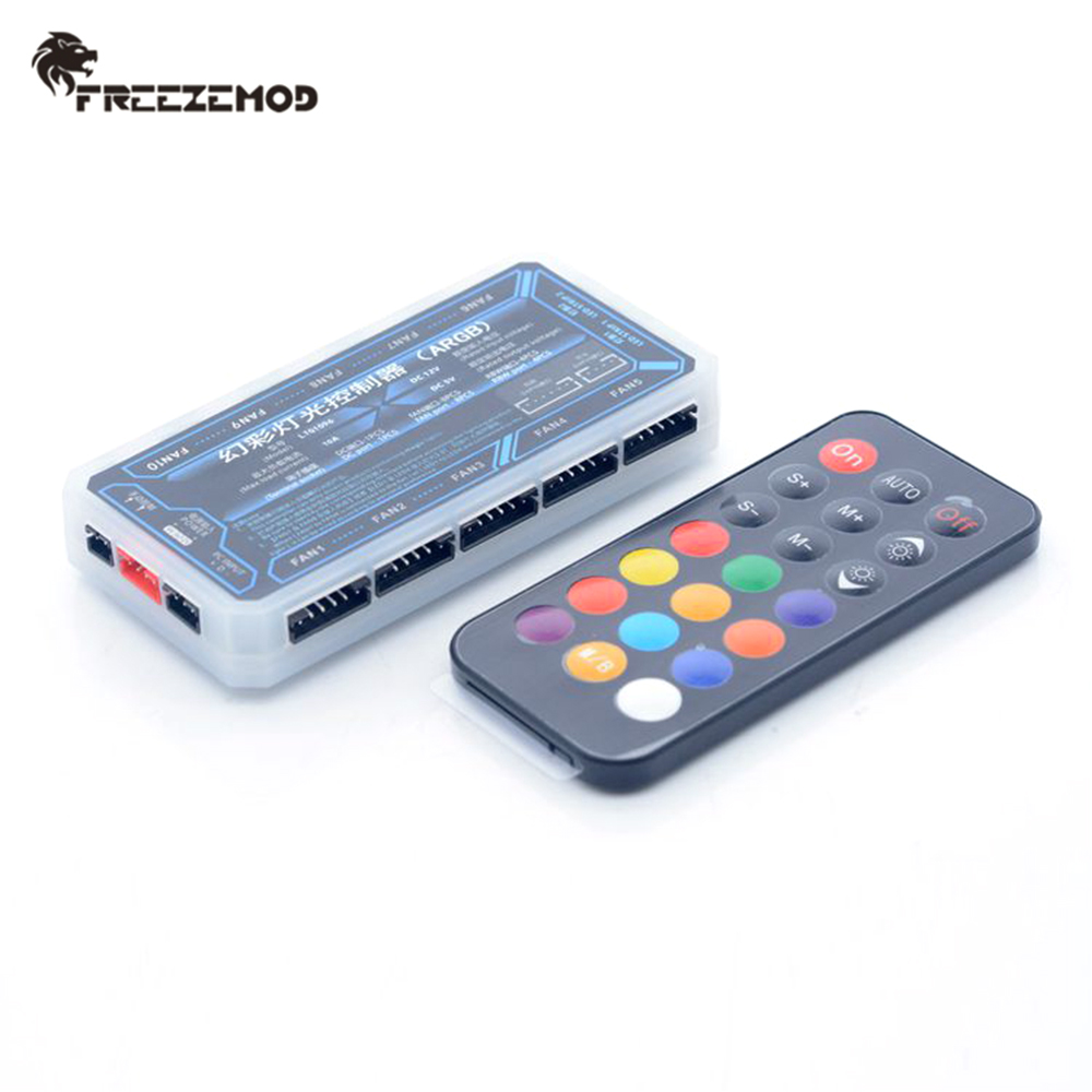 FREEZEMOD PC Water Cooler 5V 3PIN Remote With 10 Fans 2 RGB Hub Controller A RGB motherboard AURA SYNC full color rainbow remote