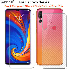 For Lenovo Z5s Z5 Z6 Youth Lite K5 S5 Pro GT S850 1 Set = Back Carbon Fiber Film + Premium Tempered Glass Front Screen Protector(China)