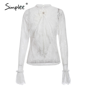 Image 4 - Simplee Streetwear bow tie women lace blouse shirt Stand neck ruffles pearl female white tops Spring summer ladies blouses 2020