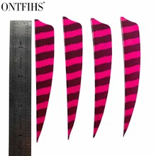 100 pcs ONTFIHS 4 Inch Arrow Feathers Shield Cut Striped 4''Turkey Plume Archery Accessories Bow Hunting