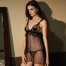 Womans Sexual Emotion Passion Perspective Little Love Sling Straps Bandage Netting Seduction Black Nightdress Set