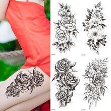 Waterproof Tattoo Sticker Temporary Tattoo Black Rose Tattoo Leg Chest Arm Tattoo Man Woman Tattoo Skin Tattoo Art Tatouage TaTy