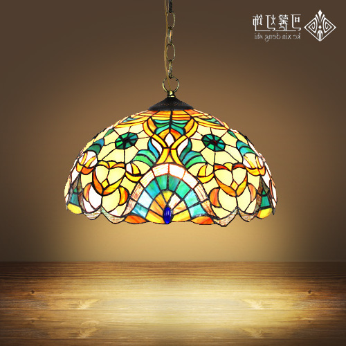 16inch Tiffany Europe Style Baroque Bohemia Pendant Light Stained Glass Bedroom Dining Room Kitchen Hanging Light E27 Luminaire