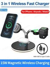 GRMA 3ใน1 Mag แม่เหล็กปลอดภัย Wireless Charger สำหรับ iPhone 12 Pro Max 12 Mini 15W Fast Charging สำหรับ Apple Watch Airpods Pro
