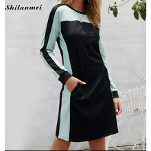 Long Sleeve Sweatshirt Dress Women O Neck Pockets Fashion Sport Streetwear 2019 Autumn Casual Slim Patchwork Mini Dresses