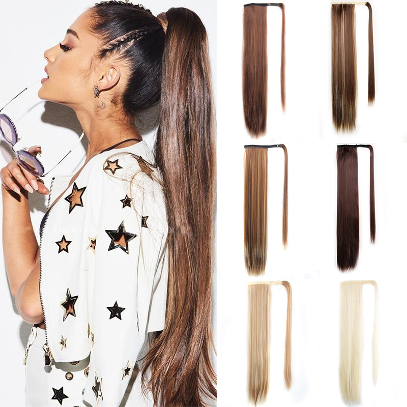 Long Straight Ponytail Extensions Drawstring Pony Tail Clip In Fake Hair Tail Synthetic False Hair Pieces For Women Msglamor